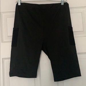 Shein Black Bike Shorts/Pants with Mesh Pockets